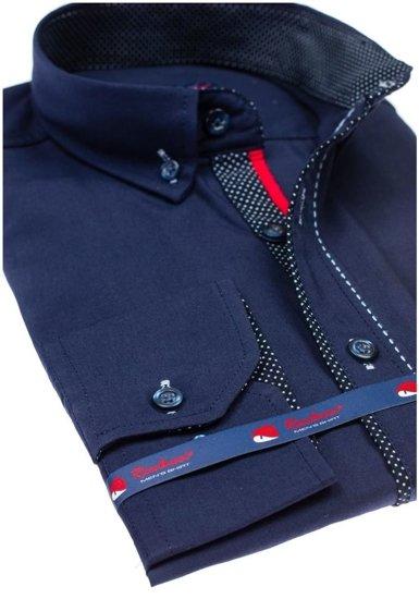 Pánská tmavě modrá elegantní košile s dlouhým rukávem Bolf 784