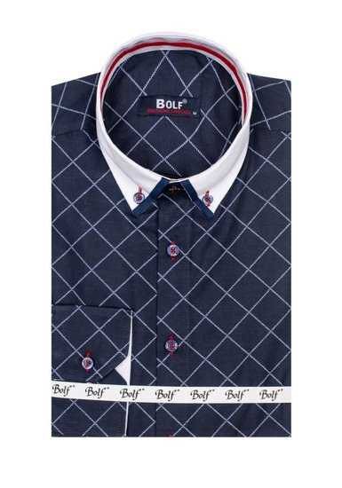 Pánská tmavě modrá vzorovaná košile s dlouhým rukávem Bolf 6931
