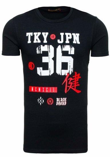 Pánské černé tričko s potiskem Bolf 1927