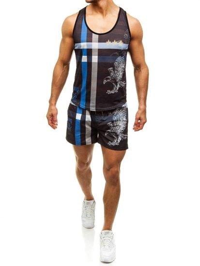 Pánský plážový komplet: plážové tričko + koupací šortky černo-modré Bolf 2120