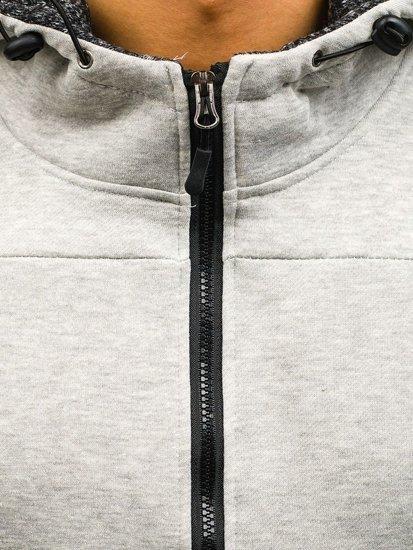 Šedá pánská mikina na zip s kapucí Bolf AK50B