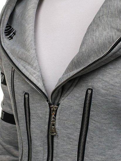 Šedá prodloužená pánská mikina s kapucí Bolf Y36-3