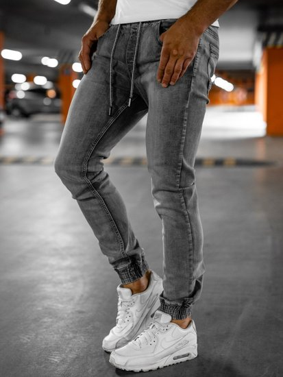 Šedé pánské džínové jogger kahoty Bolf KA1815