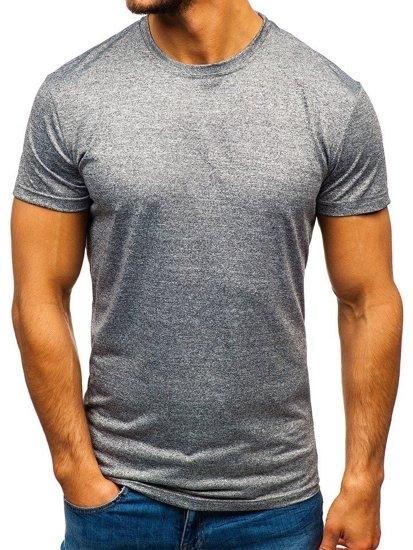 Šedé pánské tričko bez potisku Bolf S01