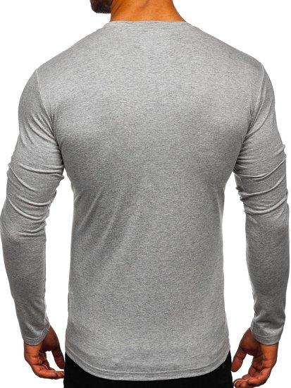Šedé pánské tričko s dlouhým rukávem bez potisku Bolf 2088L