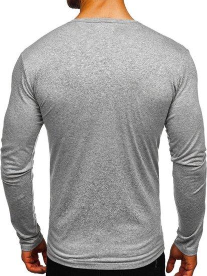 Šedé pánské tričko s dlouhým rukávem bez potisku Bolf 2099L