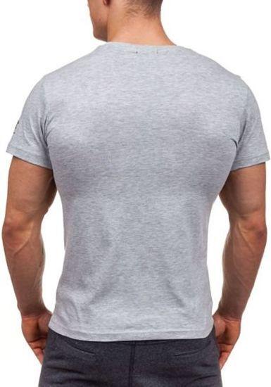 Šedé pánské tričko s potiskem Bolf 1946