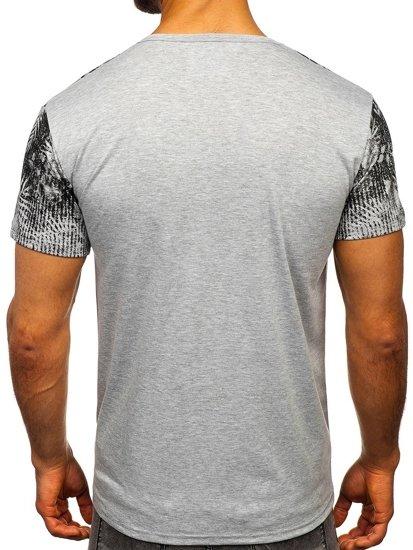 Šedé pánské tričko s potiskem Bolf KS1980