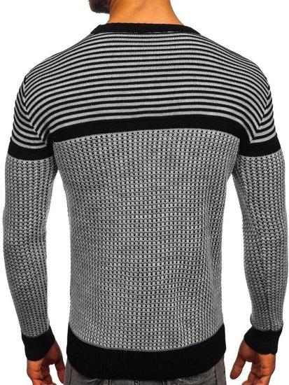 Šedo-černý pánský svetr Bolf 1013