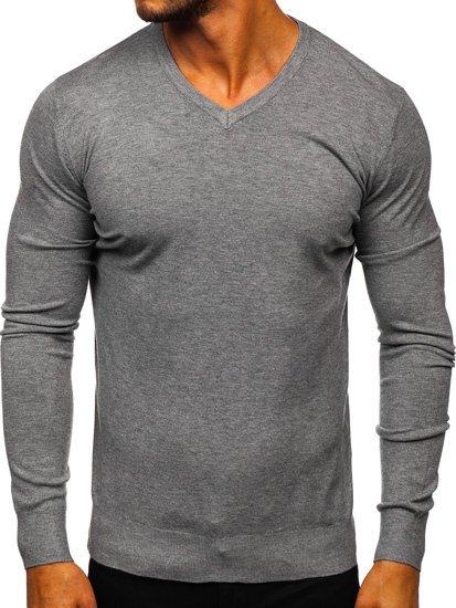 Šedý pánský svetr s výstřihem do V Bolf YY03