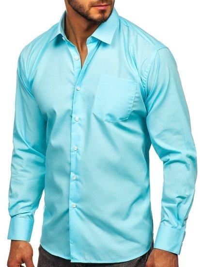 Světle modrá pánská elegantní košile s dlouhým rukávem Bolf 0003