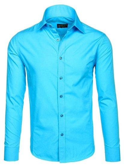 Světle modrá pánská elegantní košile s dlouhým rukávem Bolf 1703