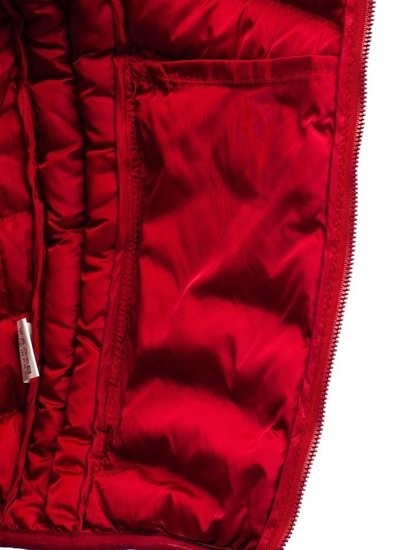 Světle vínová pánská prošívaná vesta bez kapuce Bolf SM22