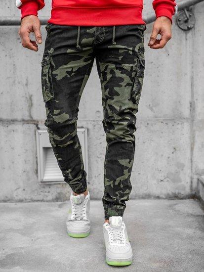 Světle zelené pánské maskáčové jogger kapsáče Bolf CT6019
