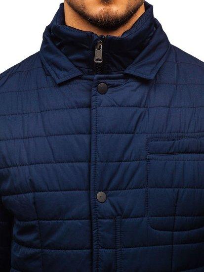 Tmavě modrá elegantní pánská zimní bunda Bolf EX201
