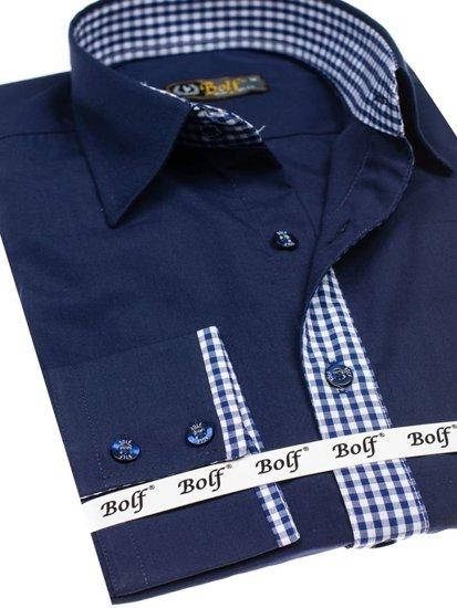 Tmavě modrá pánská elegantní košile s dlouhým rukávem Bolf 0939