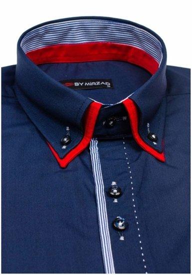 Tmavě modrá pánská elegantní košile s dlouhým rukávem Bolf 6859
