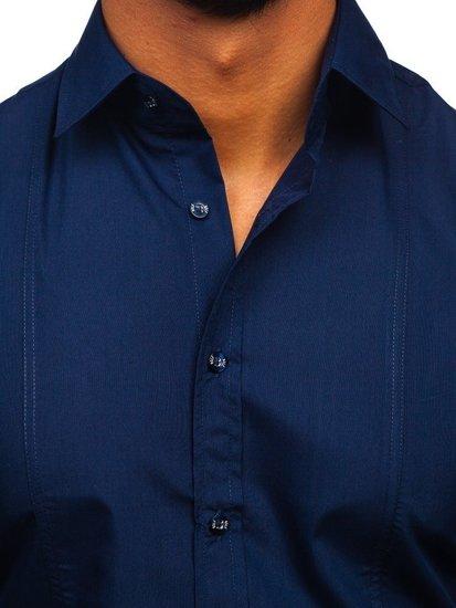 Tmavě modrá pánská elegantní košile s dlouhým rukávem Bolf 6944
