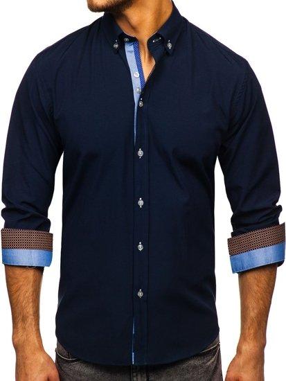 Tmavě modrá pánská elegantní košile s dlouhým rukávem Bolf 8840-1