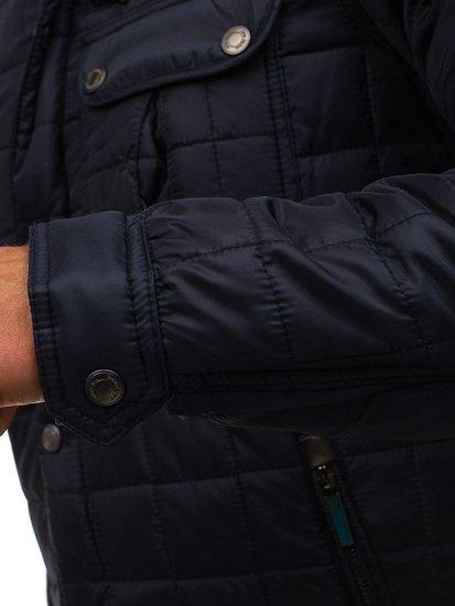 Tmavě modrá pánská elegantní přechodová bunda Bolf 004