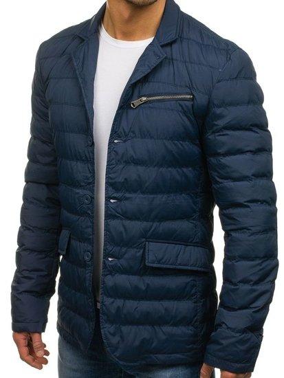 Tmavě modrá pánská elegantní přechodová bunda Bolf 392