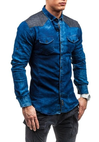 Tmavě modrá pánská košile Bolf 0517