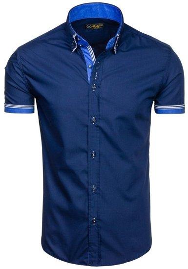 Tmavě modrá pánská košile s krátkým rukávem Bolf 2911