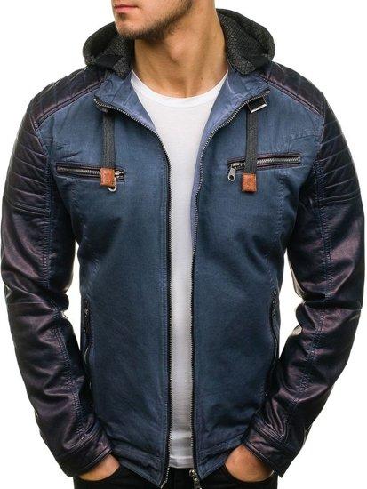 Tmavě modrá pánská kožená bunda z ekokůže Bolf EX369