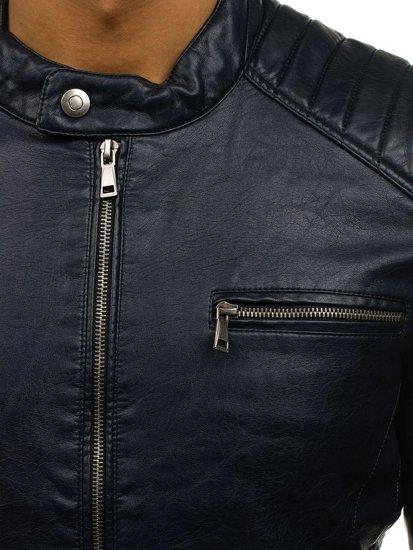 Tmavě modrá pánská koženková bunda Bolf 8816
