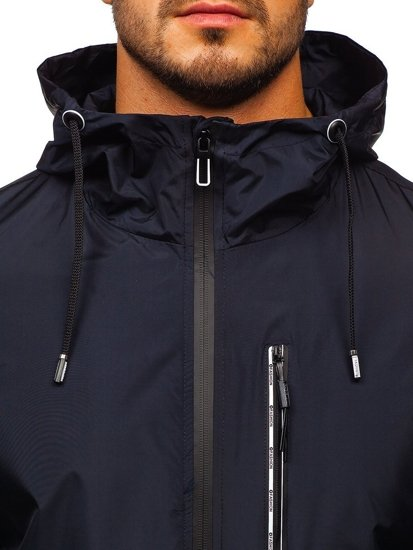 Tmavě modrá pánská přechodová sportovní bunda s kapucí Bolf 6172