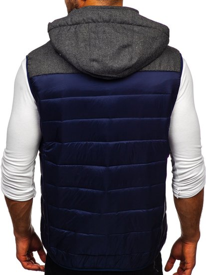 Tmavě modrá pánská prošívaná vesta s kapucí Bolf AB045