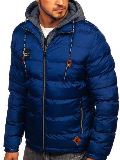 Tmavě modrá pánská sportovní zimní bunda Bolf 50A199