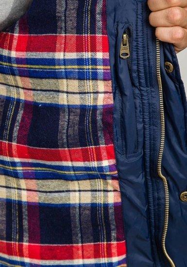 Tmavě modrá pánská vesta s kapucí Bolf 6794