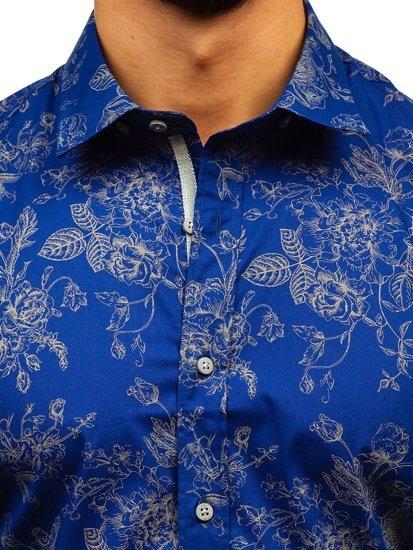 Tmavě modrá pánská vzorovaná košile s dlouhým rukávem Bolf 470G17