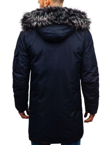 Tmavě modrá pánská zimní bunda Bolf 201802