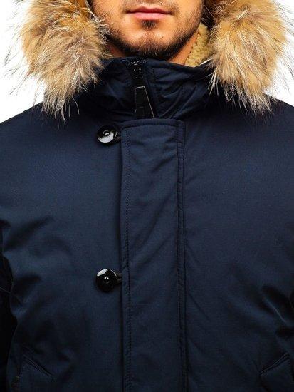 Tmavě modrá pánská zimní bunda Bolf AM703