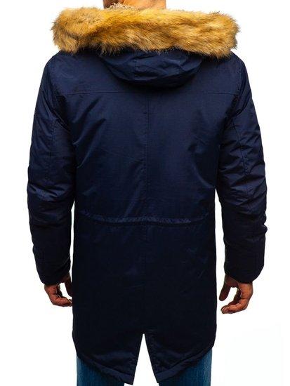 Tmavě modrá pánská zimní parka Bolf R103