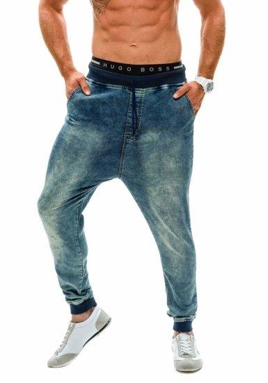 Tmavě modré džínové pánské baggy kalhoty Bolf 007b