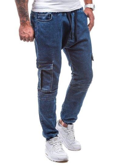 Tmavě modré pánské džínové jogger kahoty Bolf 805