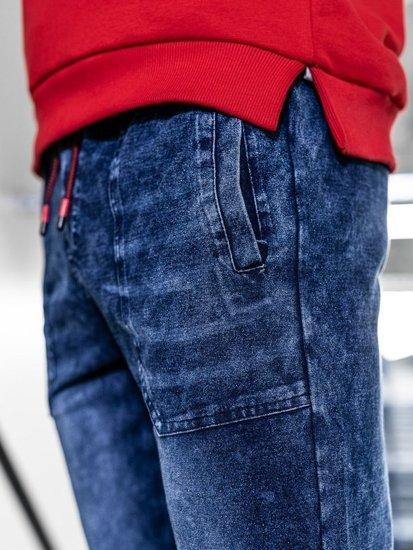 Tmavě modré pánské džínové jogger kalhoty Bolf KK1051