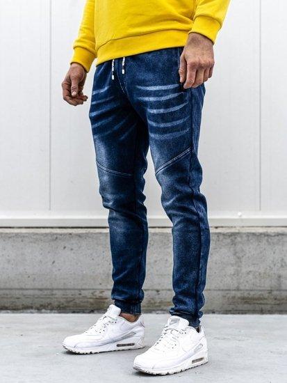 Tmavě modré pánské džínové jogger kalhoty Bolf KK1056