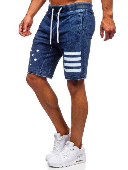 Tmavě modré pánské džínové kraťasy Bolf EX02