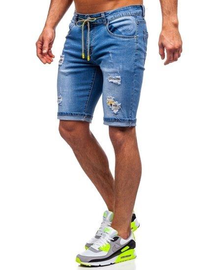 Tmavě modré pánské džínové kraťasy Bolf KG3809