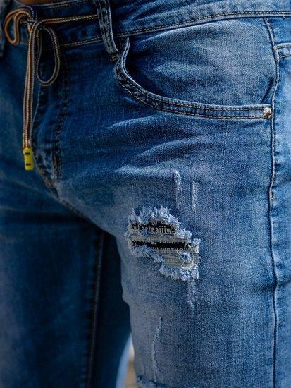 Tmavě modré pánské džínové kraťasy Bolf KG3813