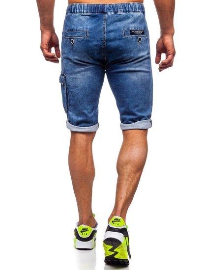 Tmavě modré pánské džínové kraťasy Bolf KR1206