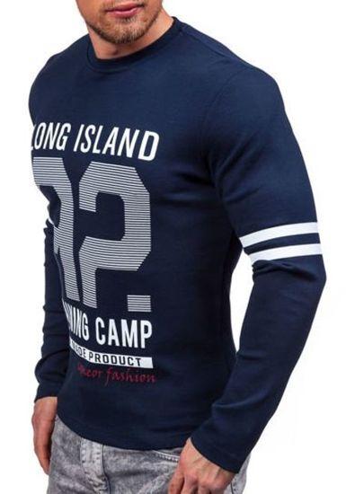 Tmavě modré pánské tričko s dlouhým rukávem s potiskem Bolf 4244