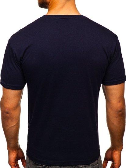 Tmavě modré pánské tričko s potiskem Bolf 14336
