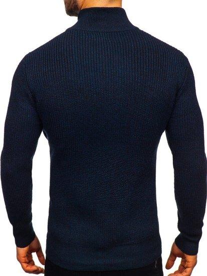 Tmavě modrý pánský svetr s vysokým límcem Bolf H1936