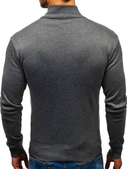 Tmavě šedý pánský propínací svetr Bolf BM6112