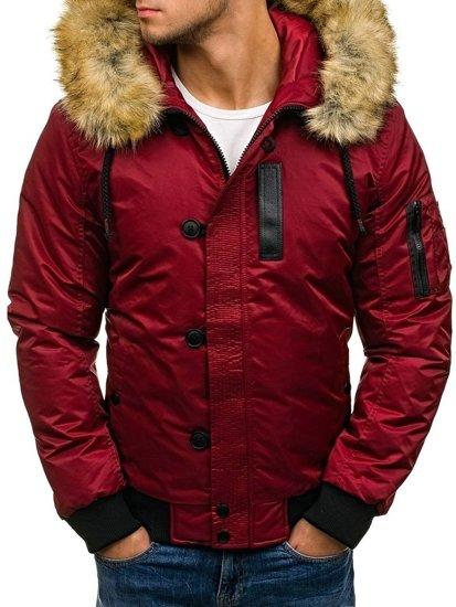 Vínová pánská zimní bunda Bolf 4826